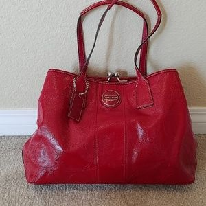 Coach logo large red patent bag tote